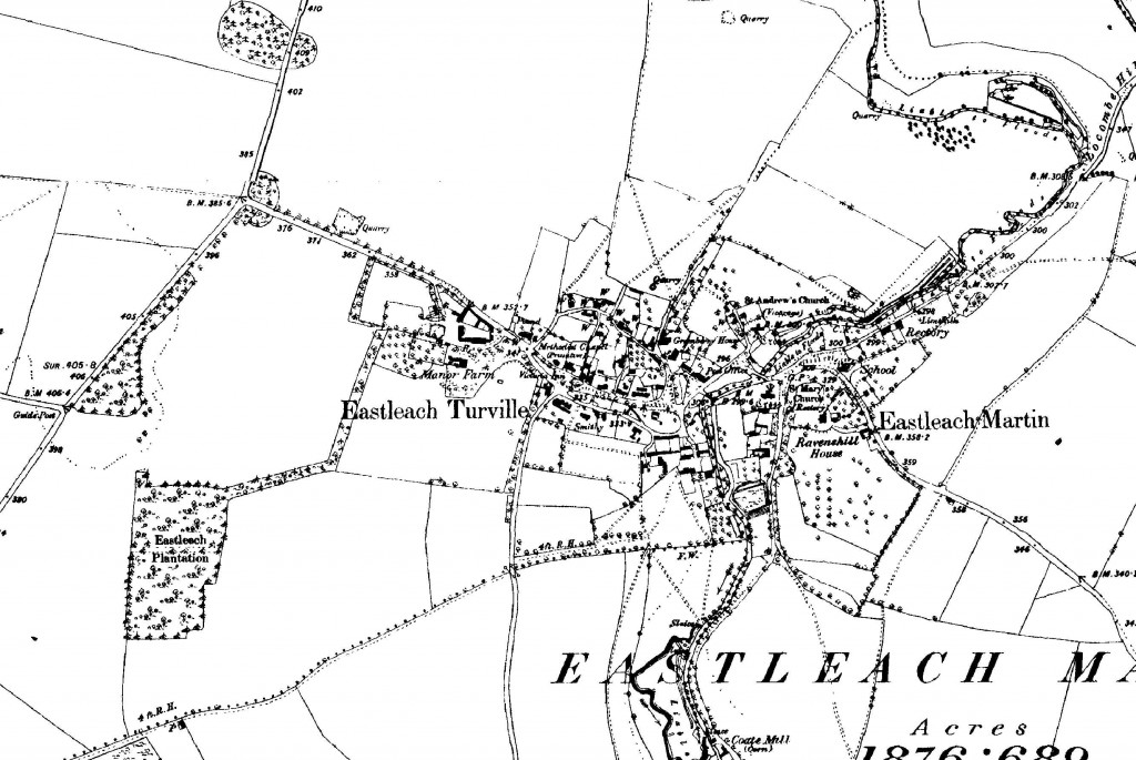 Old map of eastleach cotswolds