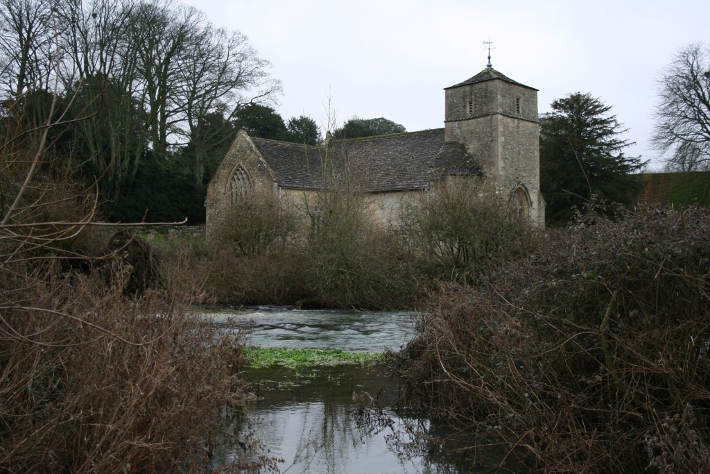 Bouthrop Church on the banks of the swollen River Leach - Eastleach