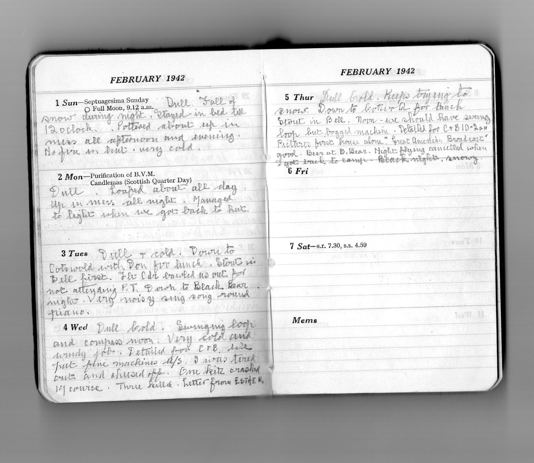 The final diary entry of Sgt Joe Crossley -Eastleach