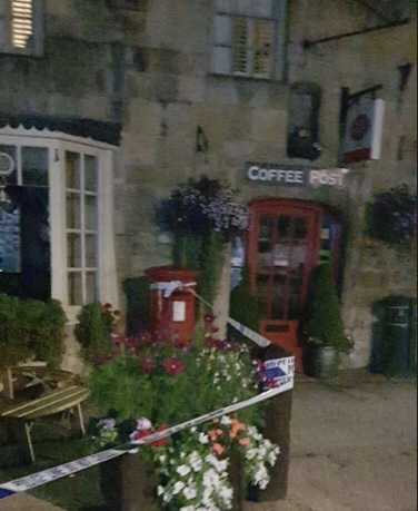 Thieves used a sledgehammer to smash their way into two businesses before stealing thousands of pounds worth of stamps. Fairford Gloucestershire